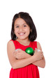 Child Hand holding a christmas ornament