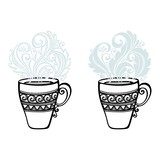 Vector Set of Decorative Cups of Tea with Steam