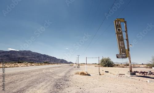 Leinwandbild Motiv Hotel sign ruin along historic Route 66