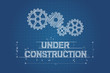 Under construction blueprint, technical drawing with gear wheel - 61077690