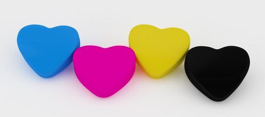 Four Paint cmyk Heart  on white
