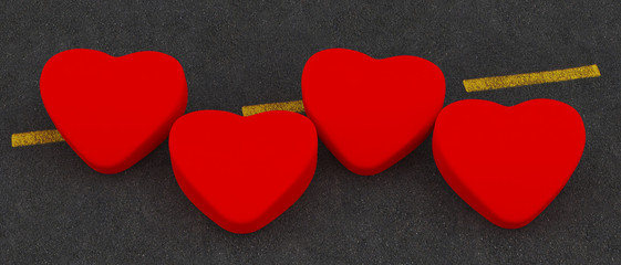 Four Red Heart  on the road