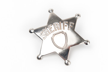 Sheriff's badge isolated on white background