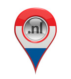 3D pin domain marker with Dutch flag isolated