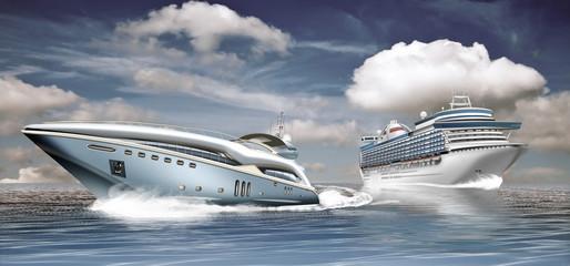 Yacht und Kreuzfahrtschiff auf dem Ozean