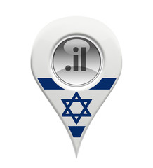 3D pin domain marker with Israeli flag isolated