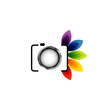 Digital Camera with colorful leaves- photography logo