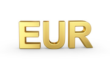 Golden 3D EUR currency shortcut isolated with clipping path