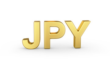 Golden 3D JPY currency shortcut isolated with clipping path