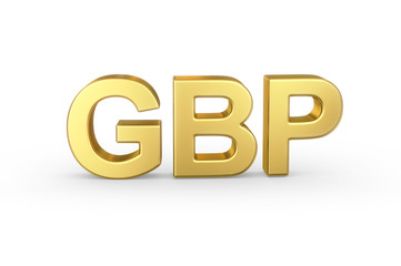 Golden 3D GBP currency shortcut isolated with clipping path