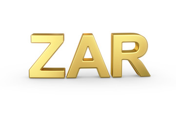 Golden 3D ZAR currency shortcut isolated with clipping path