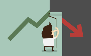 businessman painting growing graph over falling graph