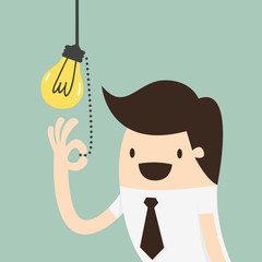 Businessman pulling light switch, Idea concept
