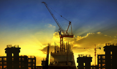 building and crane construction site