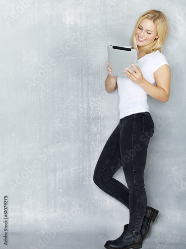 Woman working on tablet pc