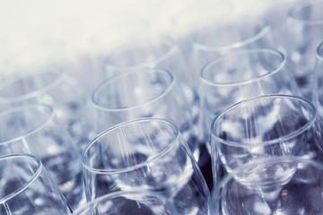 Many wine glasses high angle shot