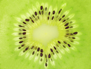 Close-up view on pulp of ripe kiwi