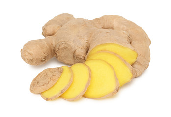 Sliced ginger on white background