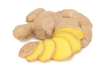 Sliced ginger on white background