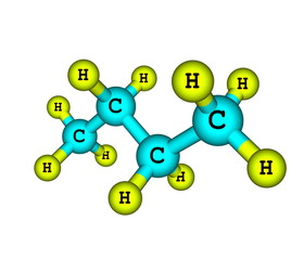 Molecular structure of butane on white