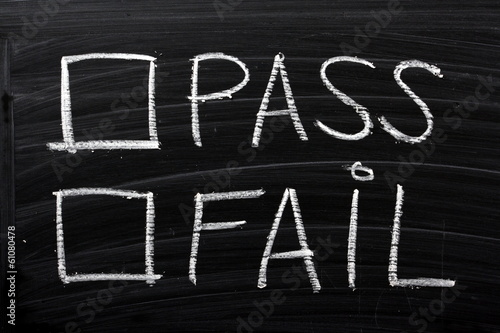 Pass or Fail Tick Boxes on a blackboard