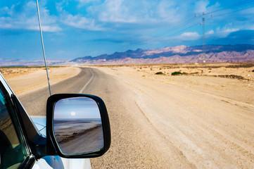 View through a car mirror