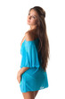 Pretty young girl posing in blue sundress