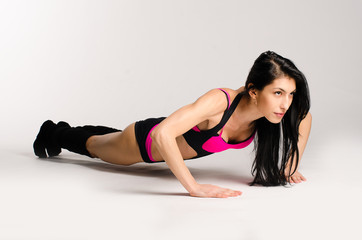 Woman doing fitness isolated