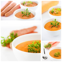 Carrots soup collage