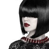Fashion Stylish Beauty Portrait. Brunette Girl with fringe over