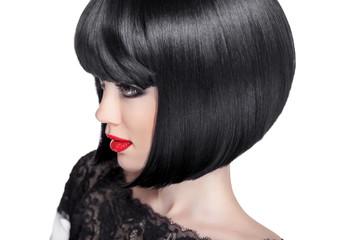 Brunette woman Portrait. Black short hair style. Fashion Beauty