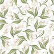 Seamless pattern with lily of the valley and snowdrop flowers.
