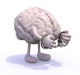 brain with arms, legs and handcuffs