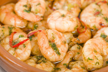 Gambas Pil Pil - Sizzling prawns with chili and garlic. Tapas!