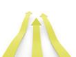 Yellow three arrows rendered on white