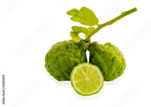 Organic bergamot and bergamot leaves isolated on white backgroun
