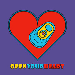 Open your heart. Pop art style heart with beverage can.