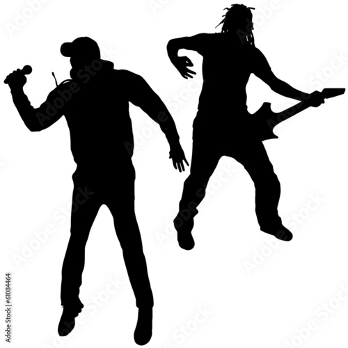 Black vector silhouette men.