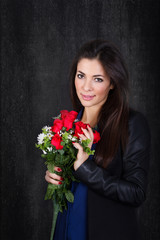 romantic red roses for woman
