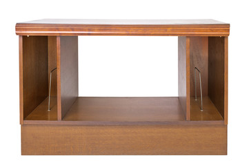 Front shot of brown wooden nightstand