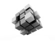 Black cubes concept isolated