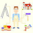 vector illustration of painter with equipment
