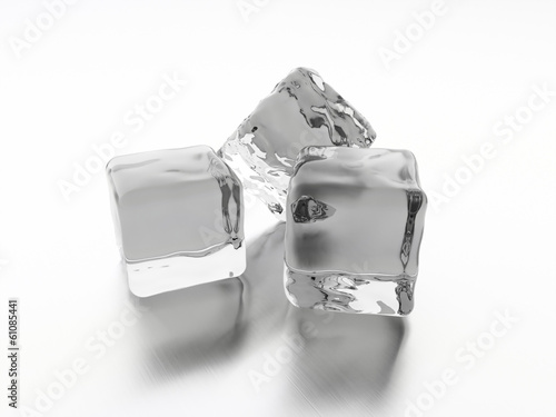 Three ice cubes rendered on white