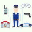 vector illustration of policeman with gun