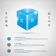 Abstract 3D shiny cube and gray icons - infographics template