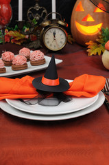 Napkin related witch hat for Halloween