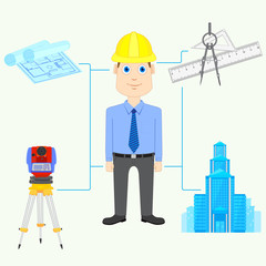 vector illustration of Architect with equipment