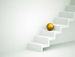 Yellow sphere on stairs