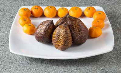 Salak Fruit and clementines mandarin