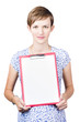 Young woman displaying a blank clipboard